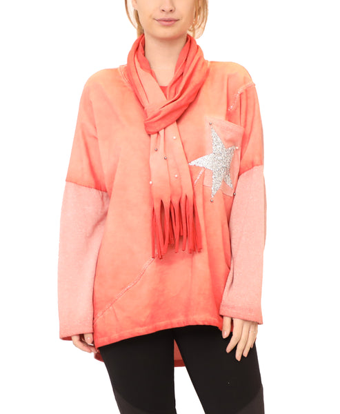 Top w/ Sequin Star and Matching Scarf - 2 Pc Set