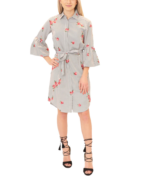 Stripe Shirt Dress w/ Embroidered Flowers