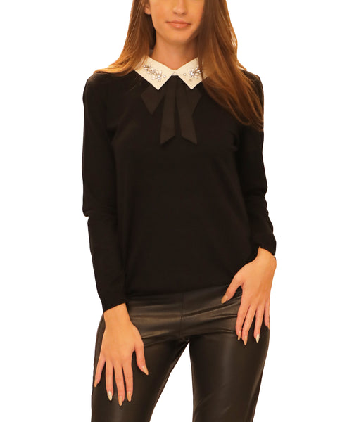 Lightweight Knit Sweater w/ Embellished Collar - Fox's