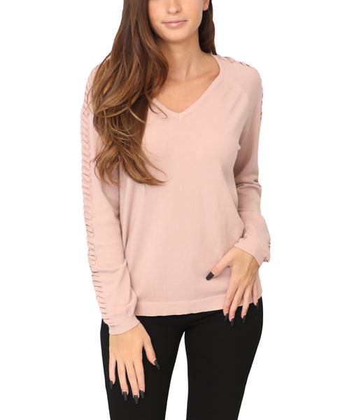 Sweater w/ Lace-Up Sleeves - Fox's
