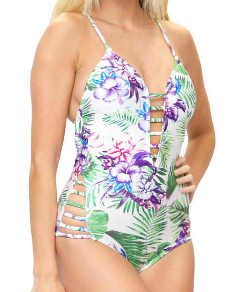 Zoom view for One-Piece Tropical Printed Swimsuit