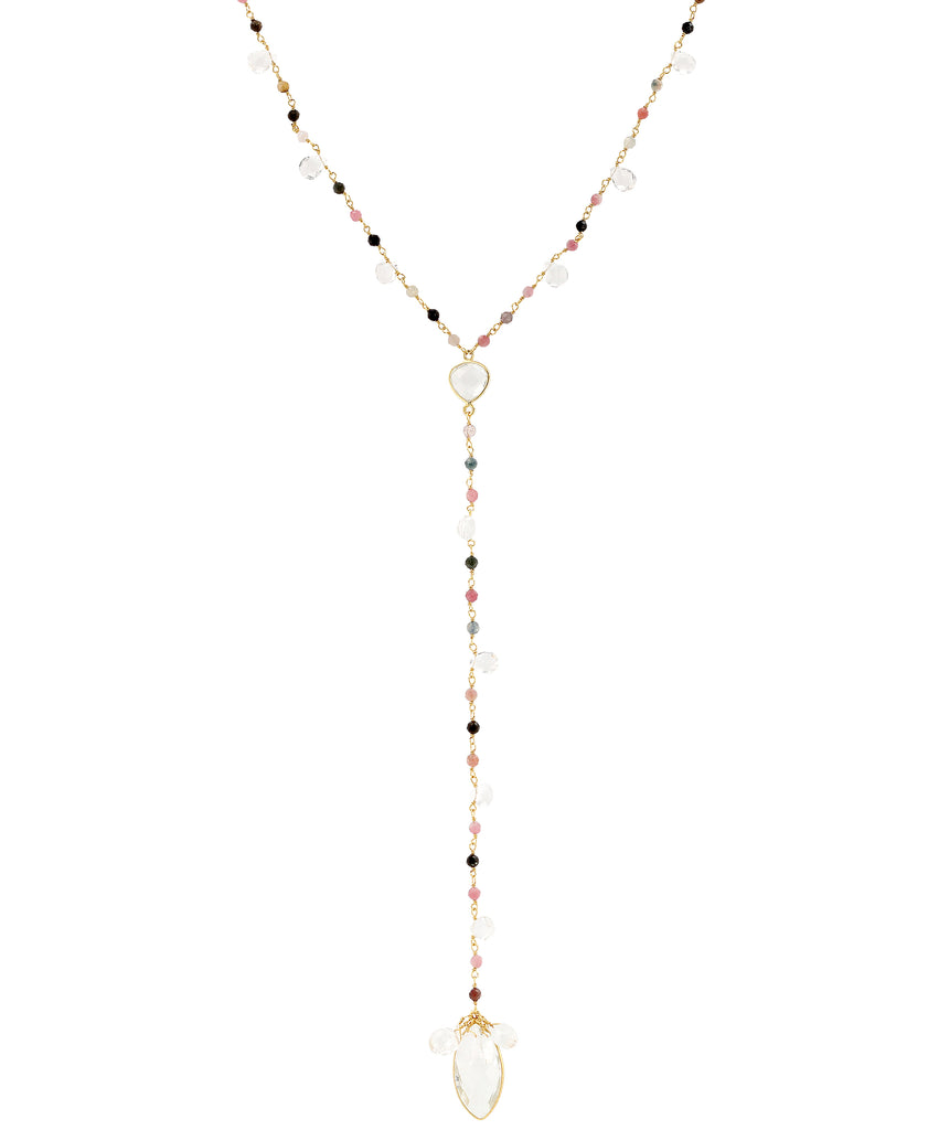 Lariat Necklace w/ Semi Precious Stones