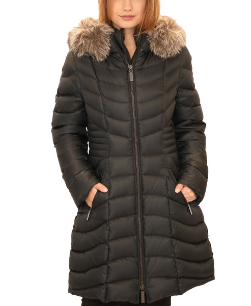 Down Puffer Coat w/ Fox Fur Trim Hood