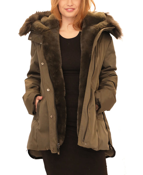 Down Jacket w/ Raccoon Fur Trim Hood