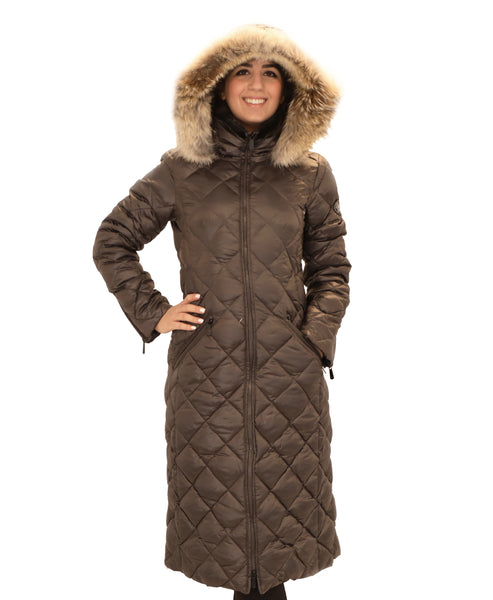 Down Quilted Puffer Coat w/ Coyote Fur Trim Hood