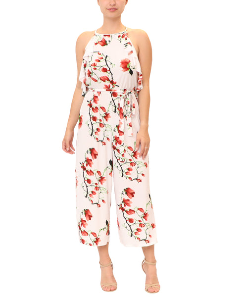 Cherry Blossom Print Crop Jumpsuit