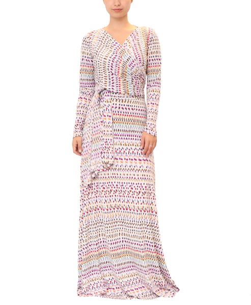 Box Print Wrap Maxi Dress