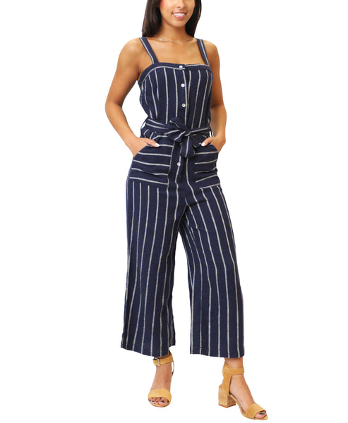 Zoom view for Linen Stripe Jumpsuit