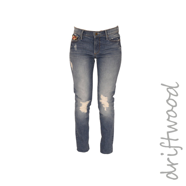 Distressed Jean w/ Embroidered Pockets