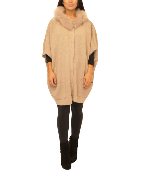 Knit Poncho w/ Fur Trim - Fox's