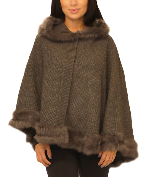 Textured Knit Poncho w/ Fur Trim - Fox's