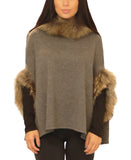 Knit Poncho w/ Raccoon Fur Trim - Fox's