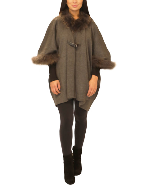 Knit Cape w/ Raccoon Fur Trim - Fox's