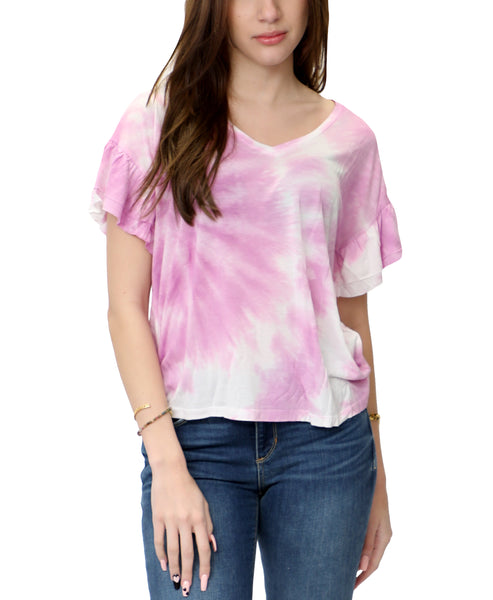 Zoom view for Tie-Dye V-Neck Ruffle Tee