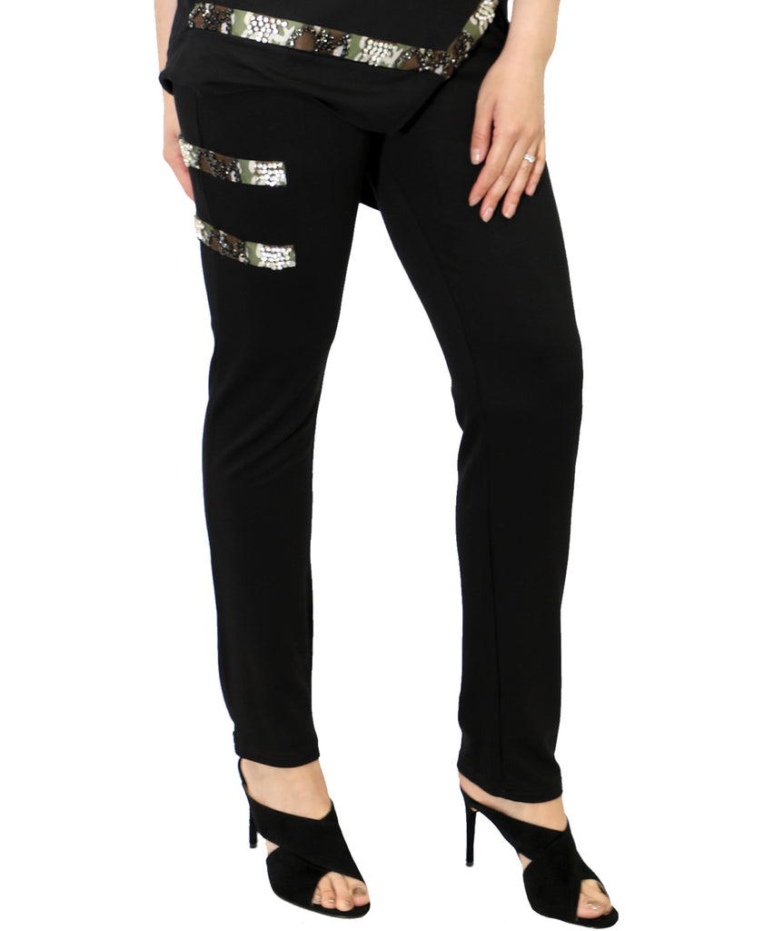 Camo Trim Pant With Rhinestone Detail