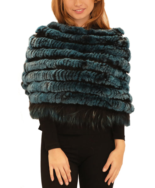 Knitted Rex Rabbit Fur Poncho w/ Raccoon Fur Trim