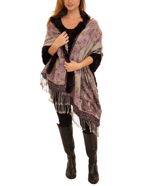 Silk & Cashmere Print Shawl w/ Rex Rabbit Fur Trim