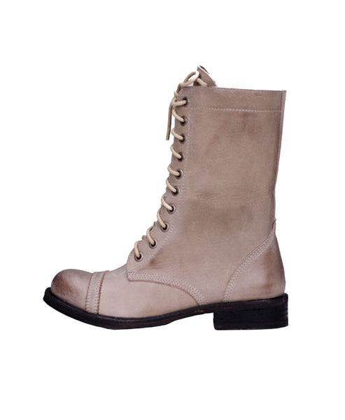 Distressed Leather Combat Boot