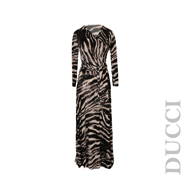 Long Sleeve Animal Print Wrap Maxi Dress