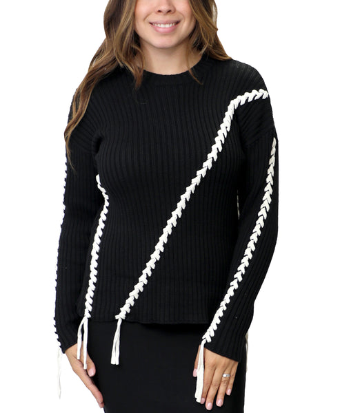 Zoom view for Ribbed Sweater w/ Lace Up Detail