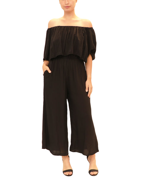 Off The Shoulder Crop Jumpsuit
