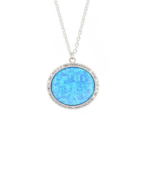 Zoom view for Round Pendant Necklace w/ Cubic Zirconia