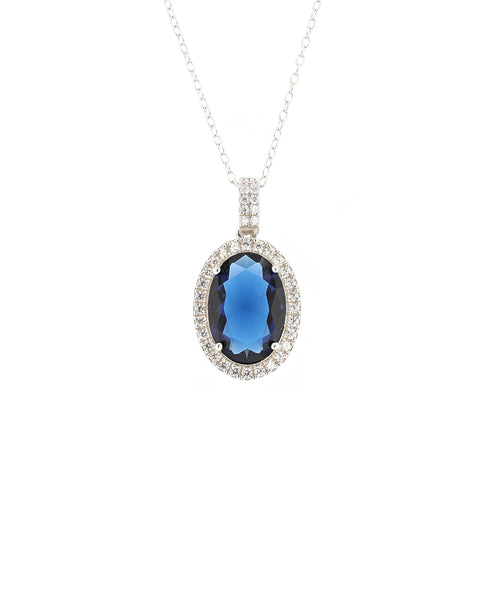 Zoom view for Oval Pendant Necklace w/ Cubic Zirconia