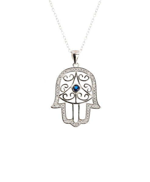 Zoom view for Hamsa Pendant Necklace w/ Cubic Zirconia