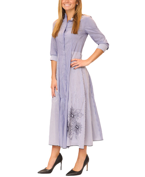 Zoom view for Fit & Flare Stripe Shirt Dress w/ Embroidery
