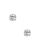 Square w/ Halo Cubic Zirconia Stud Earrings