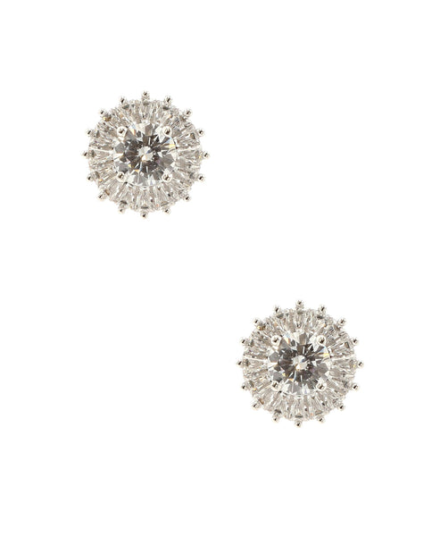 Round Cubic Zirconia w/ Baguette Halo Stud Earrings
