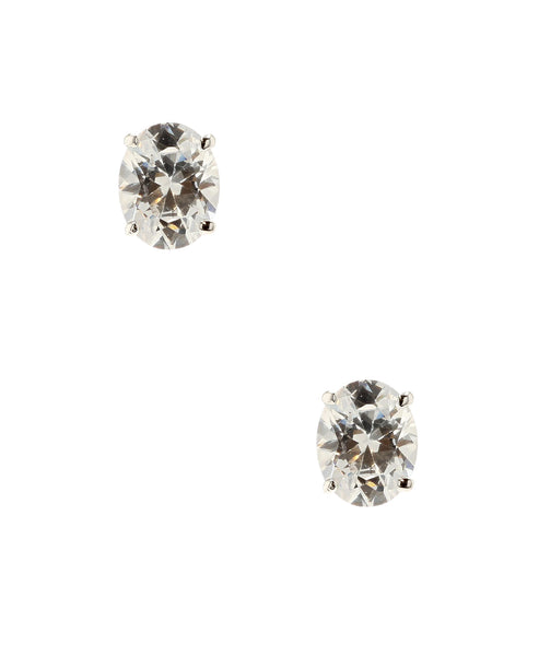 Zoom view for Oval Cubic Zirconia Stud Earrings