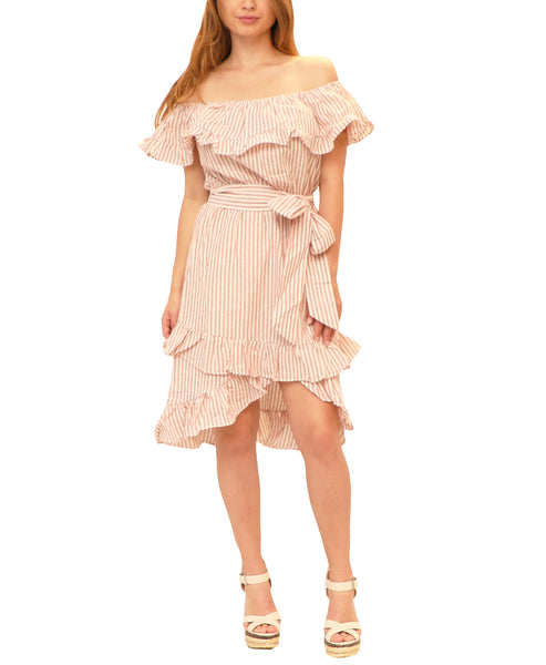 Off The Shoulder Stripe Hi-Lo Dress