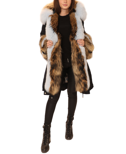 Down Hooded Parka Coat w/ Fur Trim- 2 Pc. Set - Fox's