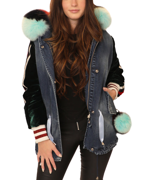 Denim Hooded Jacket w/ Fur Trim- 2 Pc. Set - Fox's