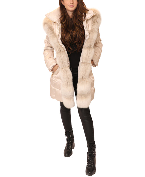 Down Hooded Coat w/ Fur Trim - Fox's