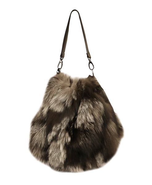 Silver Fox Fur Bucket Handbag - Fox's