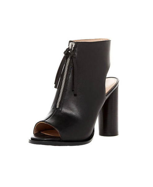 Peep Toe Leather Ankle Bootie