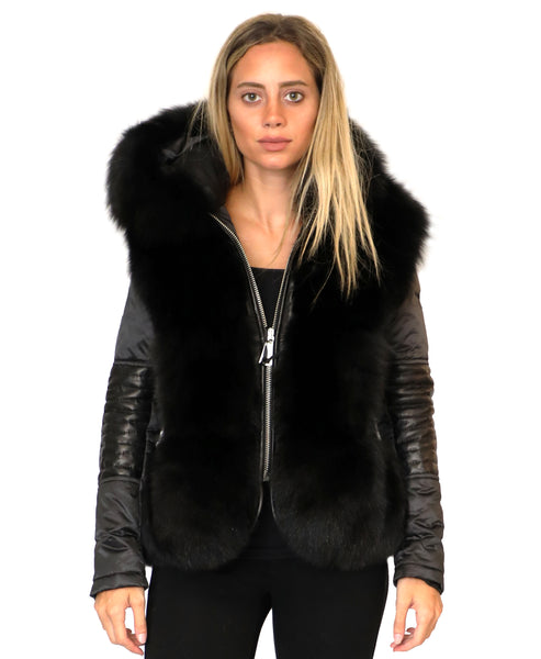 Zoom view for Quilted Jacket w/ Fox Fur Trim