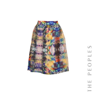 Abstract Floral Print Skirt