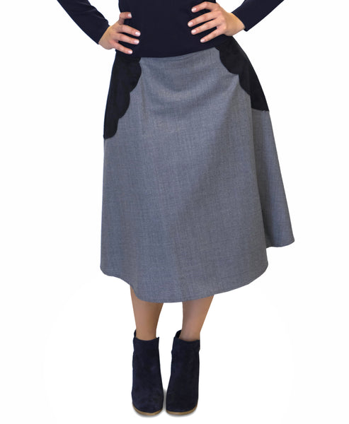A-Line Skirt w/ Faux Suede Detail