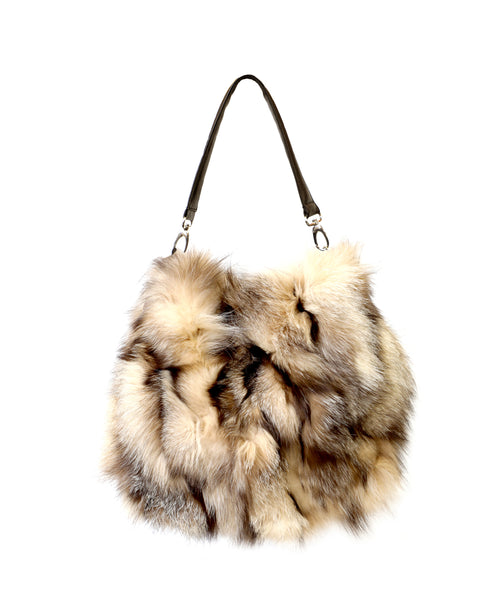 Zoom view for Fox Fur & Leather Bucket Handbag