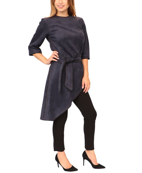 Faux Suede Asymmetrical Tunic - Fox's