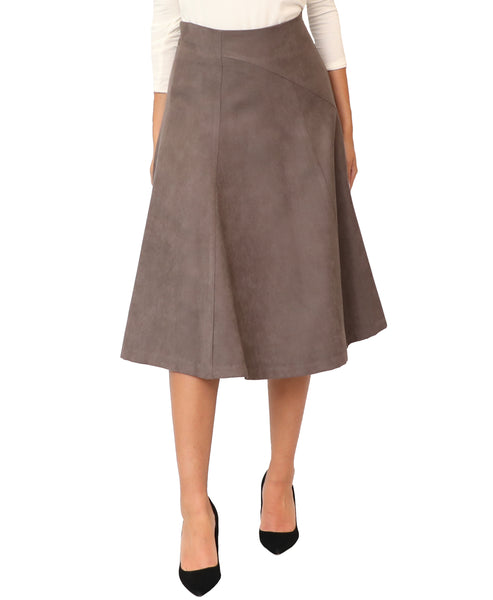 Faux Suede Fit & Flare Skirt