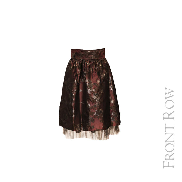 Floral Jacquard Skirt w/ Tulle Bottom