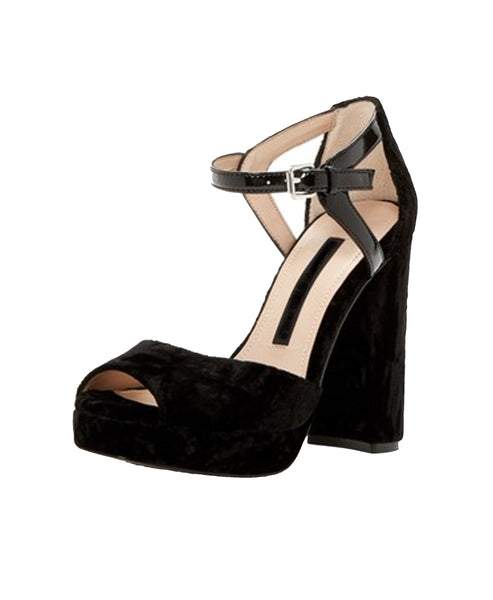 Crushed Velvet Ankle Strap Sandal - Fox's