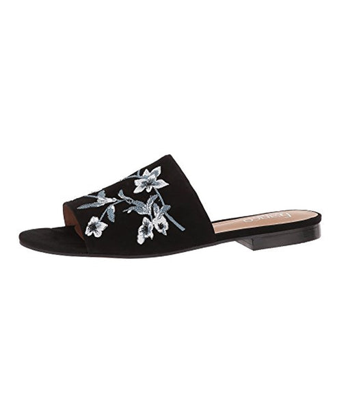 Suede Slide w/ Embroidered Flowers