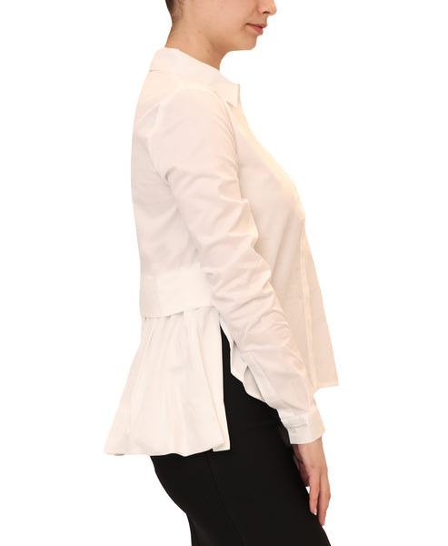 Shirt w/ Pleated Peplum Back