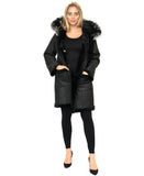 Reversible Shearling Coat w/ Raccoon Fur Collar