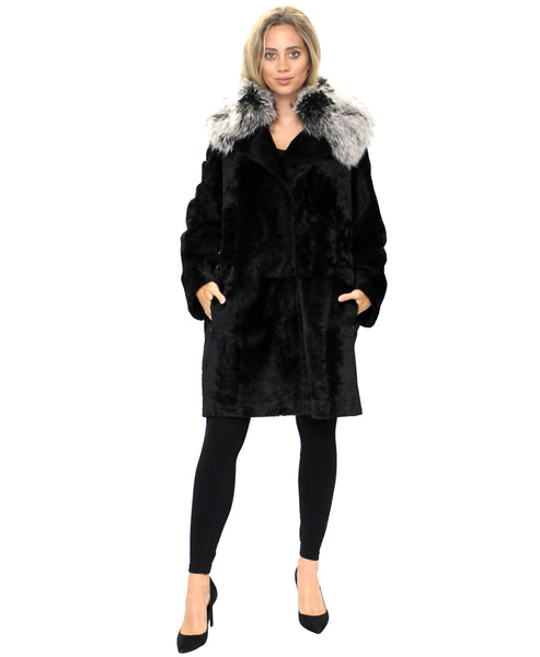 Zoom view for Reversible Shearling Coat w/ Raccoon Fur Collar